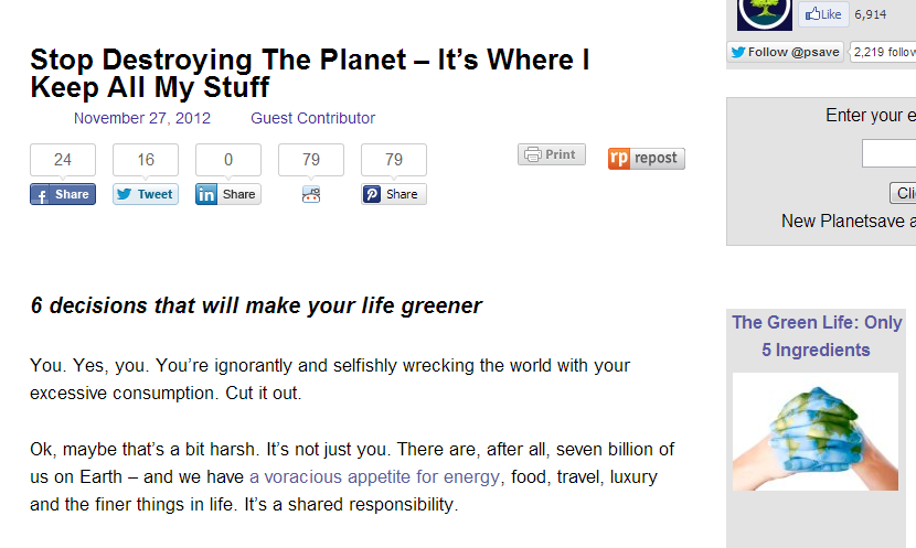 Stop Destroying The Planet – It's Where I Keep All My Stuff