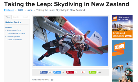 Skydiving in New Zealand article screenshot
